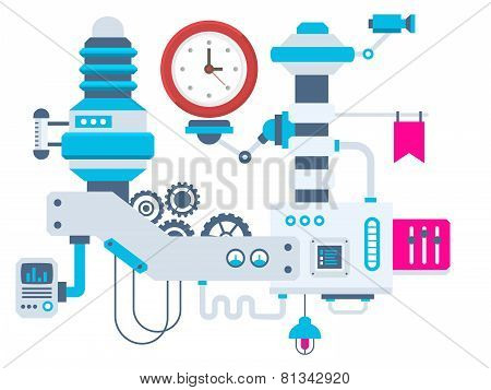 Industrial Illustration Background Of The Factory For Measurement Of The Parameters Clock.