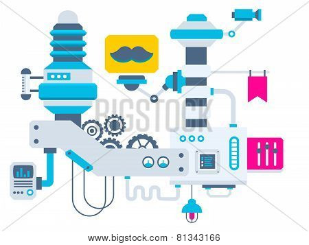 Industrial Illustration Background Of The Factory For Measurement Of The Parameters Mustache.