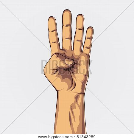 Hand showing four count