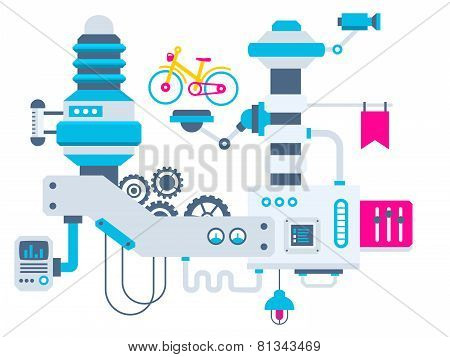 Industrial Illustration Background Of The Factory For Measurement Of The Parameters Bike.