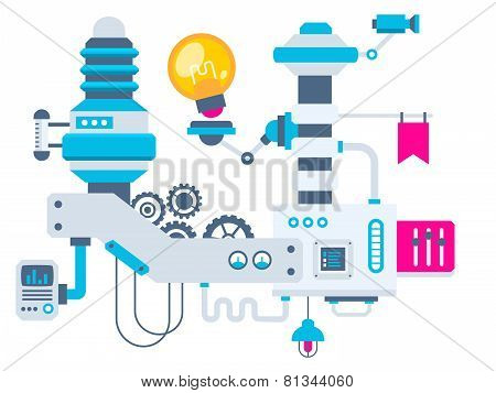 Industrial Illustration Background Of The Factory For Measurement Of The Parameters Bulb.