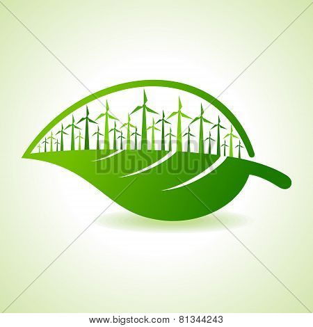 Ecology concept - Leaf with wind mill stock vector