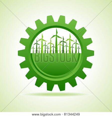 Ecology concept - gear with wind mill stock vector