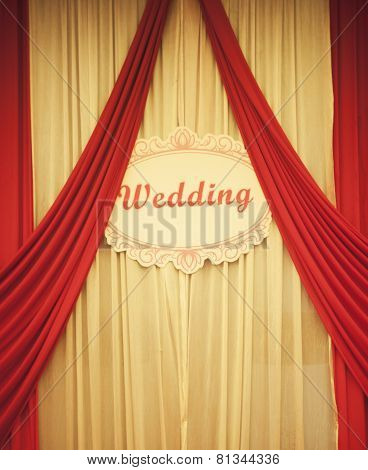 Chinese Traditional Red Marriage Banquet Curtains With Wedding Sign