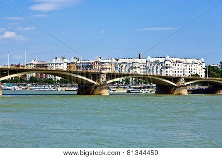 Margrit Hid Bridge In Budapest On The Danube River.