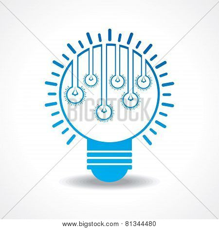 Small light-bulbs in a big bulb stock vector