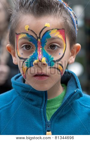 Jerusalem, Israel - March 15, 2006: Purim Carnival, Portrait Of Little Boy