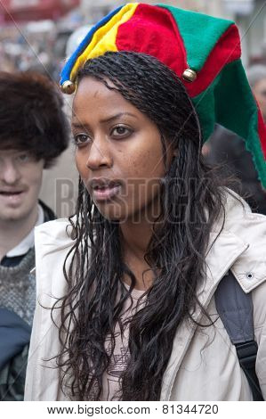 Jerusalem, Israel - March 15, 2006: Purim Carnival, Portrait Of A Young Ethiopian Woman