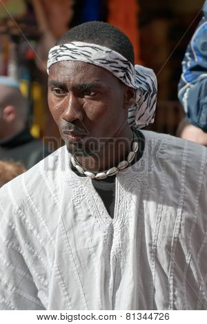 Jerusalem, Israel - March 15, 2006: Purim Carnival. Portrait Of A Man.