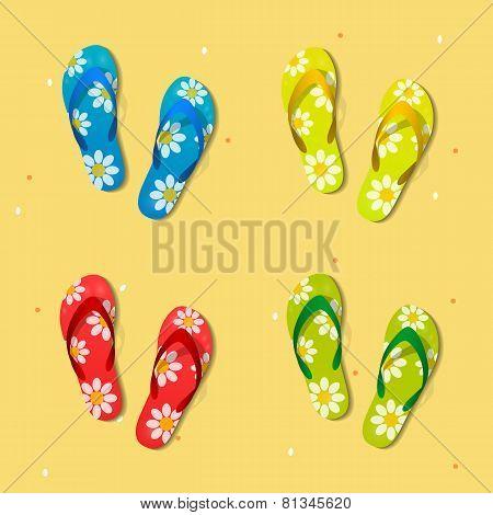 Beach sandals. Vector