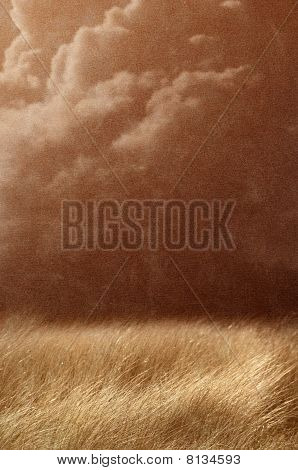 vintage country landscape - field in brown textured background - stormy weather