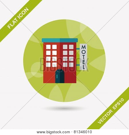 Building Motel Flat Icon With Long Shadow,