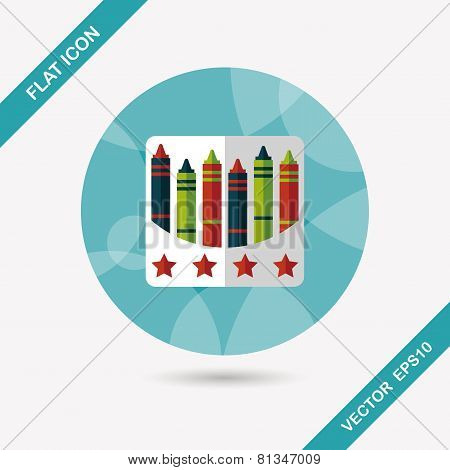 Crayons Flat Icon With Long Shadow