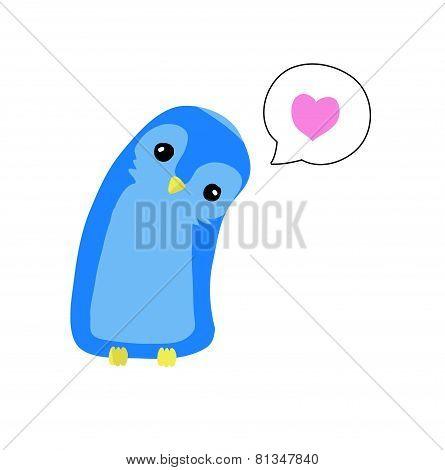 Cute little blue bird thinking of love