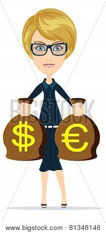 Business woman holding money, vector illustration