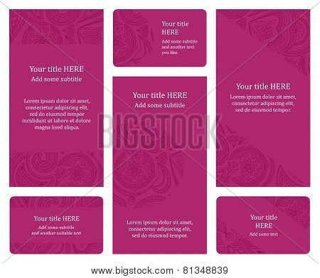 Set Of Pink Leaflet And Business Card Templates.