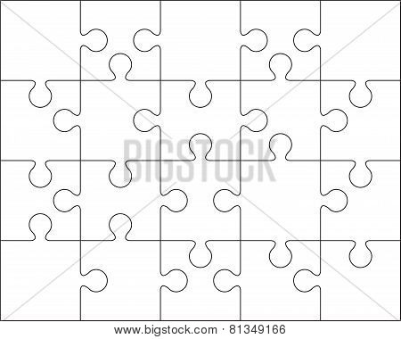 20 Jigsaw puzzle blank template or cutting guidelines.