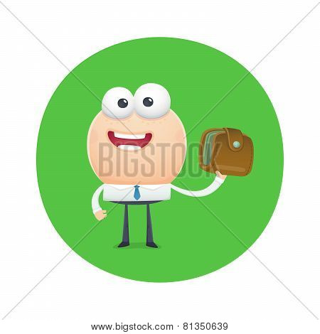 Funny Character Holds The Purse With Money