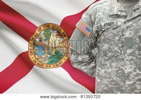American Soldier With Us State Flag On Background - Florida