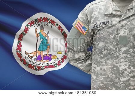 American Soldier With Us State Flag On Background - Virginia
