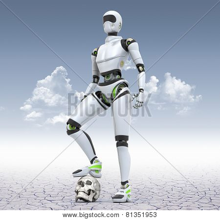 Robot Standing In The Desert With His Foot On The Skull