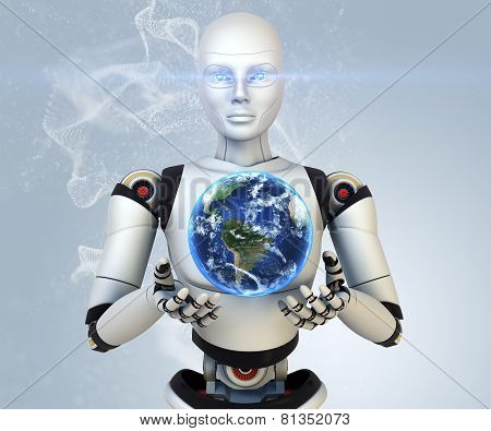 Cyborg Holdings The Earth In His Hands