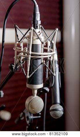 Professional Microphones In A Recording Studio