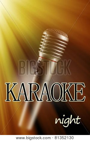Microphone on color background, Karaoke night concept