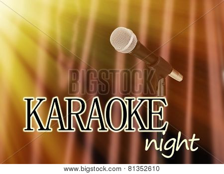 Microphone on brown curtain background, Karaoke night concept
