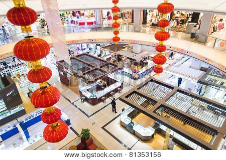 SHENZHEN, CHINA - JAN 19: shopping center interior in ShenZhen on January 19, 2015. ShenZhen is regarded as one of the most successful Special Economic Zones.