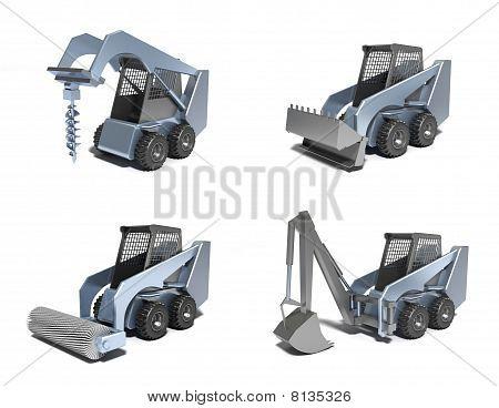 Small tractors . 3D image.