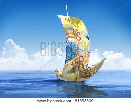 Sailboat Made Of Euro