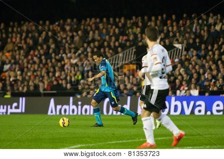 VALENCIA, SPAIN - JANUARY 25: Bacca with ball during Spanish League match between Valencia CF and Sevilla FC at Mestalla Stadium on January 25, 2015 in Valencia, Spain