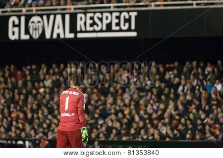VALENCIA, SPAIN - JANUARY 25: Diego Alves during Spanish League match between Valencia CF and Sevilla FC at Mestalla Stadium on January 25, 2015 in Valencia, Spain