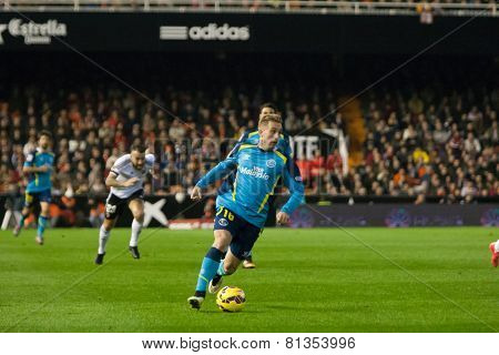 VALENCIA, SPAIN - JANUARY 25: Deulofeu during Spanish League match between Valencia CF and Sevilla FC at Mestalla Stadium on January 25, 2015 in Valencia, Spain