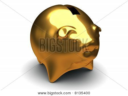 Gold Pig Bank Isolated On White