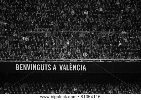 VALENCIA, SPAIN - JANUARY 25: Valencia team supporters during Spanish League match between Valencia CF and Sevilla FC at Mestalla Stadium on January 25, 2015 in Valencia, Spain