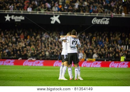 VALENCIA, SPAIN - JANUARY 25: Valencia players celebrating a goal during Spanish League match between Valencia CF and Sevilla FC at Mestalla Stadium on January 25, 2015 in Valencia, Spain