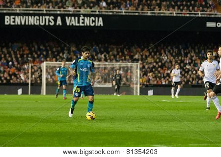 VALENCIA, SPAIN - JANUARY 25: Banega during Spanish League match between Valencia CF and Sevilla FC at Mestalla Stadium on January 25, 2015 in Valencia, Spain