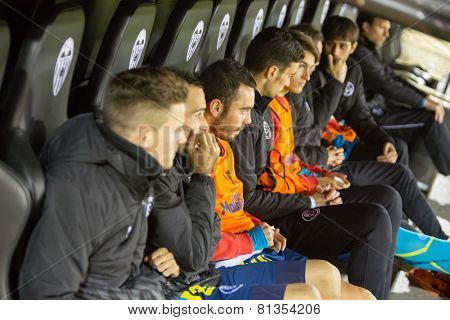 VALENCIA, SPAIN - JANUARY 25: Sevilla players on the bench during Spanish League match between Valencia CF and Sevilla FC at Mestalla Stadium on January 25, 2015 in Valencia, Spain
