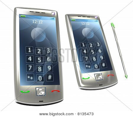 Mobile pda 3G phone with stylus isolated.