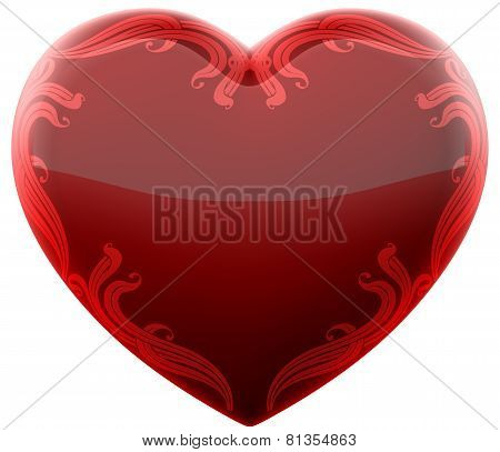 Ruby Heart With Ornament