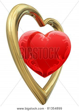 Golden And Ruby Heart Shapes