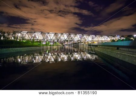 Arganzuela Bridge Illuminated At Night And Madrid Rio Park, Madrid