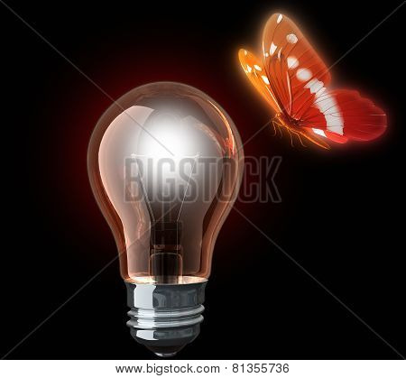 Light Bulb And Butterfly