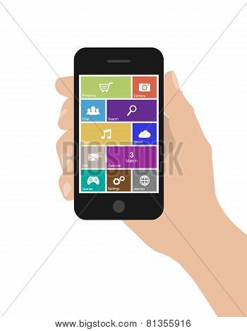 Flat woman hand holds smart phone with icons