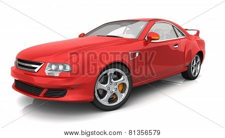 Red Muscle Car With No Brand Name