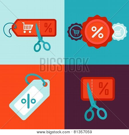 Vector Discount And Sale Concept In Flat Style