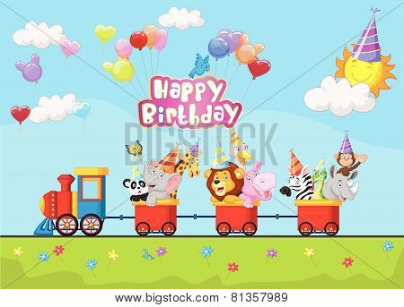 Birthday background with happy animal cartoon on train