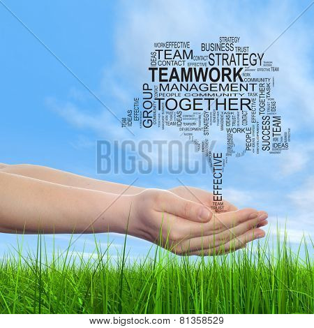 Concept or conceptual business text word cloud on man hand, tagcloud on blue sky background and green grass